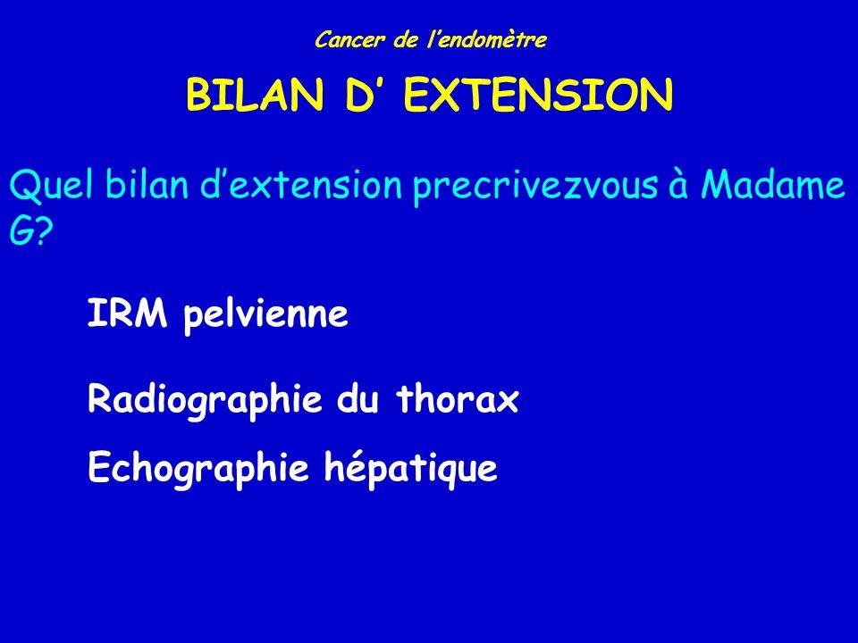 Cancer de lendomètre TYPES HISTOLOGIQUES TYPEN (%) Endométrioïde Adénosquameux Mucineux Sero-papillaire Cellules claires Squameux Autres 3769 (87,4%) 191 (4,4%) 26 (0,6%) 127 (2,9%) 94 (2,2%) 7 (0,2%) 98 (2,3%) Pecorelli.
