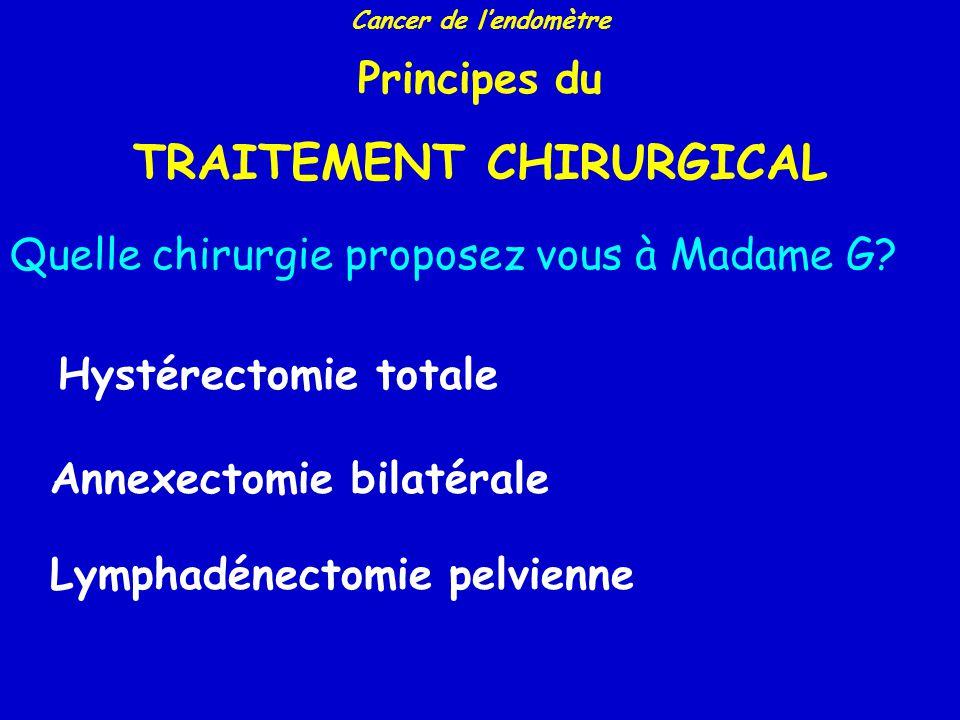 Cancer de lendomètre SEQUENCE THERAPEUTIQUE Chirurgie première si patiente opérable Radiothérapie adjuvante selon anatomopathologie Chimiothérapie rarement indiquée Quelle séquence proposez vous à Madame G?