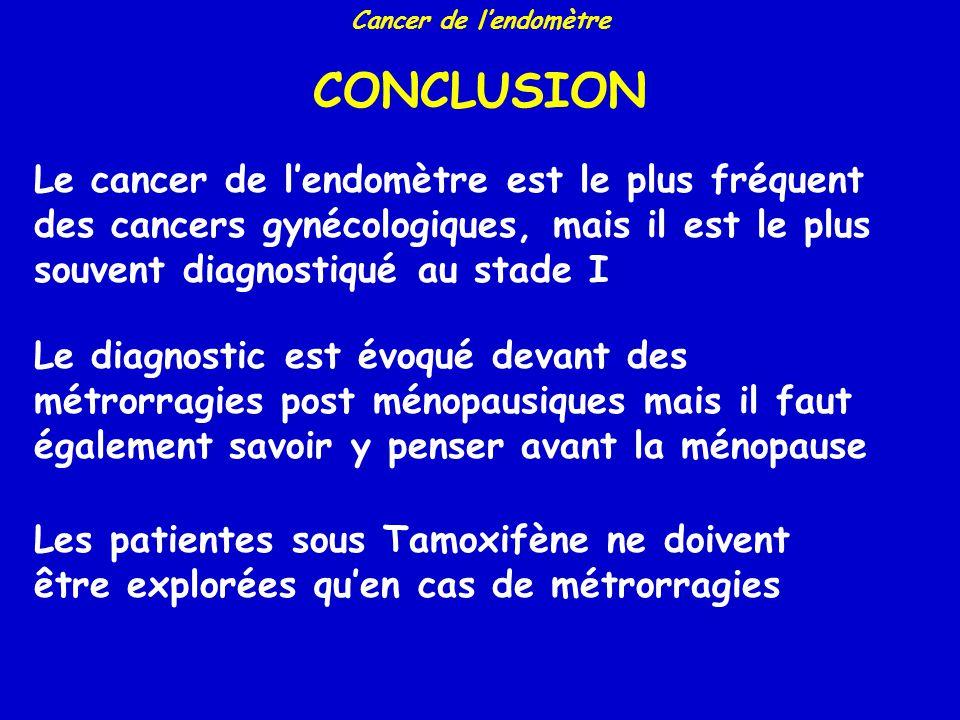 Cancer de lendomètre SURVIE A 5 ANS Pecorelli. J Epidemiol Biostat 1998 STADEPatientesSurvie Ia Ib Ic IIa IIb IIIa IIIb IIIC IVa IVb 883 2011 951 269