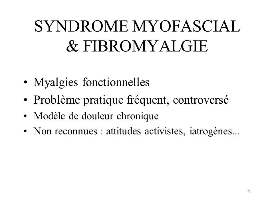 3 SYNDROME MYOFASCIAL & FIBROMYALGIE NOUS ALLONS ABORDER : –Critères diagnostiques –Similitudes et différences –Considérations physiopathologiques –Organisation du traitement : programme