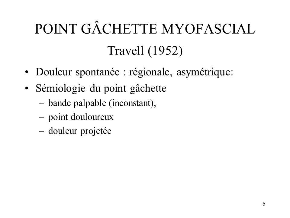 7 POINT GÂCHETTE MYOFASCIAL Travell (1952) Douleur spontanée, régionale –algie faciale atypique –céphalée tension –pseudo-névralgie d Arnold.