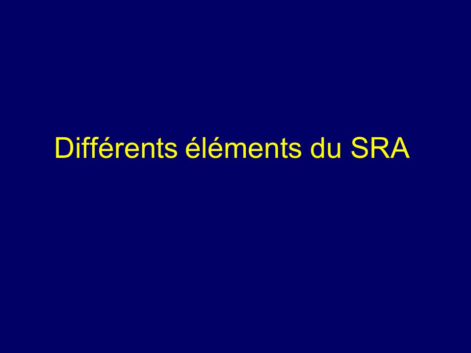 Différents éléments du SRA