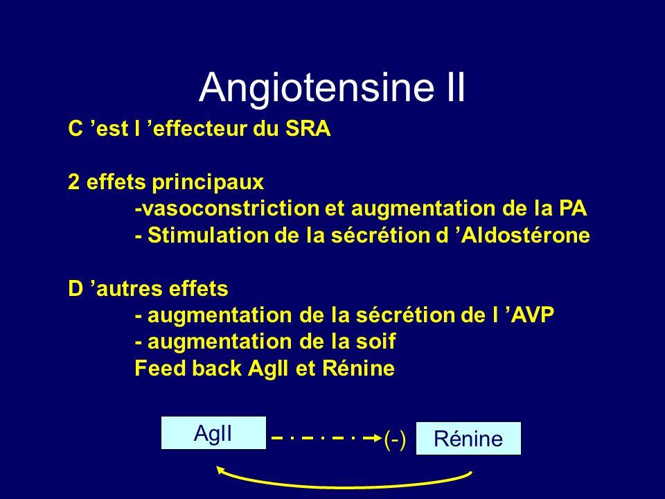 Angiotensine II C est l effecteur du SRA 2 effets principaux -vasoconstriction et augmentation de la PA - Stimulation de la sécrétion d Aldostérone D autres effets - augmentation de la sécrétion de l AVP - augmentation de la soif Feed back AgII et Rénine AgII Rénine (-)