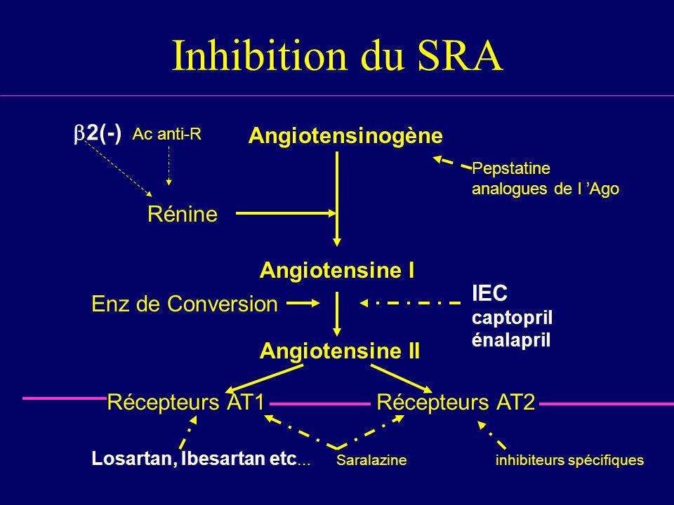 Inhibition du SRA Rénine Angiotensinogène Angiotensine I Angiotensine II Récepteurs AT1Récepteurs AT2 Losartan, Ibesartan etc … Saralazineinhibiteurs spécifiques Enz de Conversion 2(-) Ac anti-R Pepstatine analogues de l Ago IEC captopril énalapril