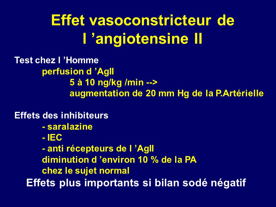 Effet vasoconstricteur de l angiotensine II Test chez l Homme perfusion d AgII 5 à 10 ng/kg /min --> augmentation de 20 mm Hg de la P.Artérielle Effet