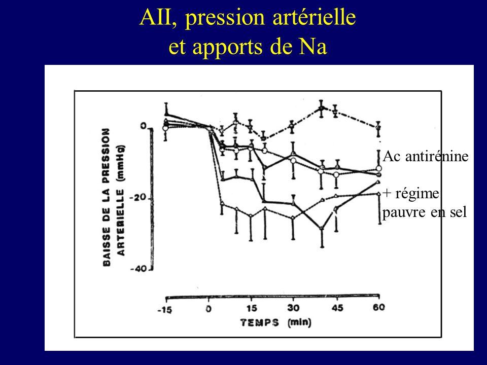AII, pression artérielle et apports de Na Ac antirénine + régime pauvre en sel