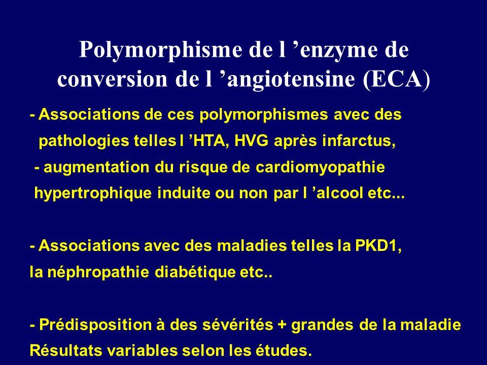 Polymorphisme de l enzyme de conversion de l angiotensine (ECA) - Associations de ces polymorphismes avec des pathologies telles l HTA, HVG après infarctus, - augmentation du risque de cardiomyopathie hypertrophique induite ou non par l alcool etc...