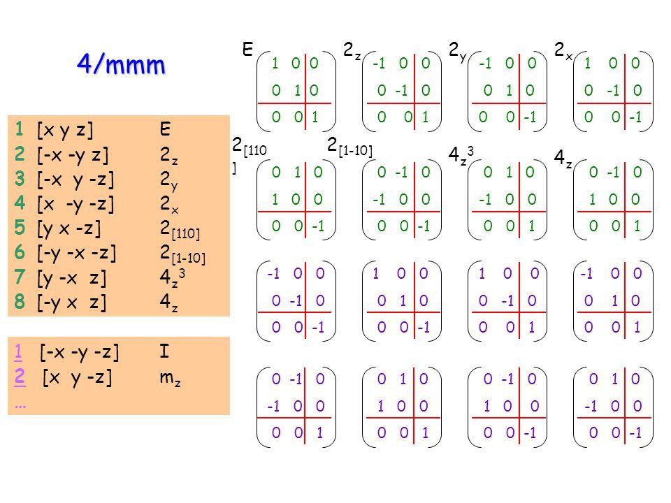 4/mmm 1 [x y z] E 2 [-x -y z] 2 z 3 [-x y -z] 2 y 4 [x -y -z] 2 x 5 [y x -z] 2 [110] 6 [-y -x -z] 2 [1-10] 7 [y -x z] 4 z 3 8 [-y x z] 4 z 1 [-x -y -z
