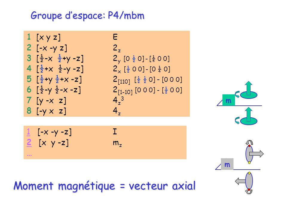 m m Groupe despace: P4/mbm 1 [x y z] E 2 [-x -y z] 2 z 3 [½-x ½+y -z] 2 y [0 ½ 0] - [¼ 0 0] 4 [½+x ½-y -z] 2 x [½ 0 0] - [0 ¼ 0] 5 [½+y ½+x -z] 2 [110
