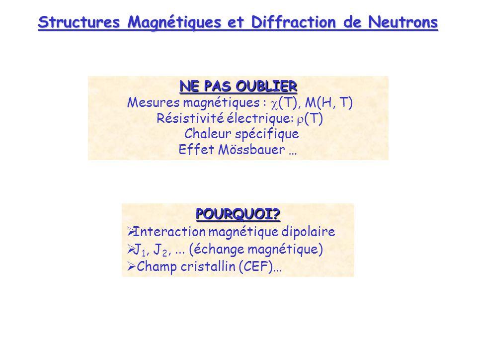 POURQUOI? Interaction magnétique dipolaire J 1, J 2,... (échange magnétique) Champ cristallin (CEF)… NE PAS OUBLIER Mesures magnétiques : (T), M(H, T)