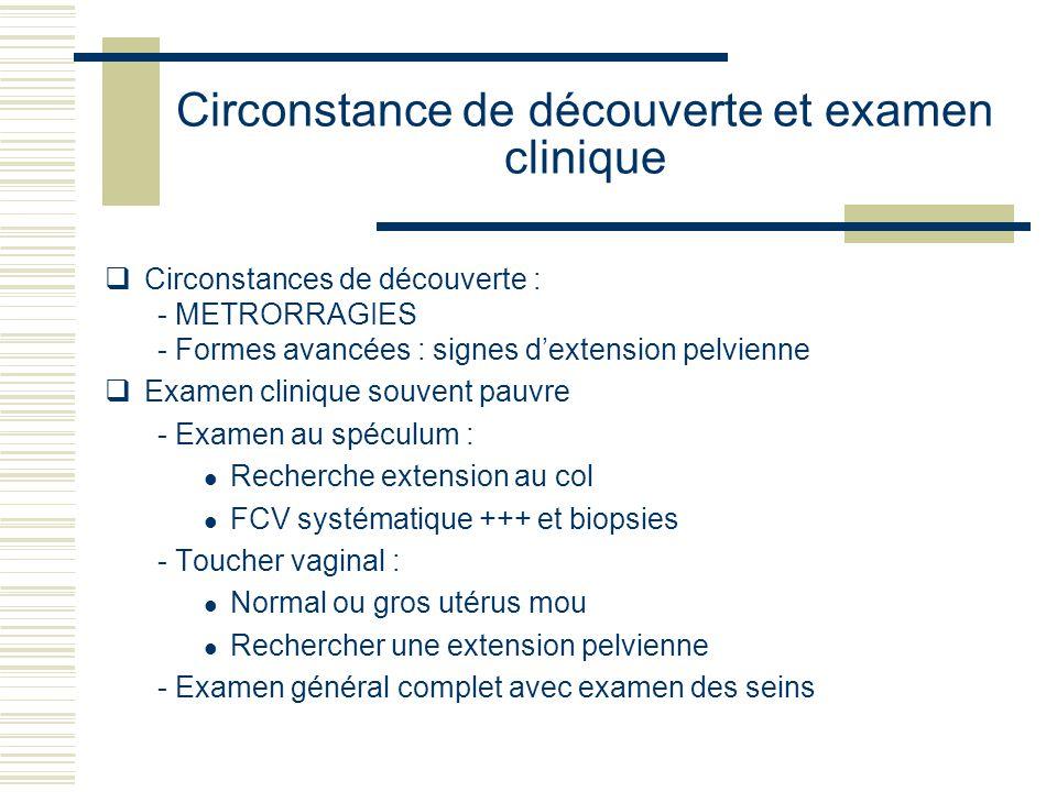 Circonstance de découverte et examen clinique Circonstances de découverte : - METRORRAGIES - Formes avancées : signes dextension pelvienne Examen clin