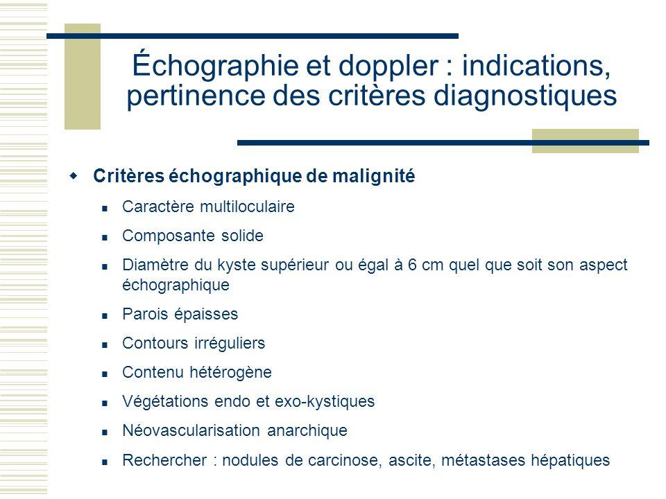 Échographie et doppler : indications, pertinence des critères diagnostiques Critères échographique de malignité Caractère multiloculaire Composante so