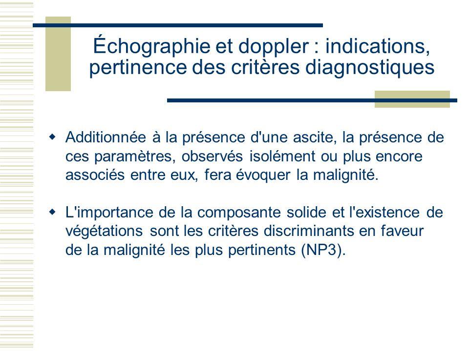 Échographie et doppler : indications, pertinence des critères diagnostiques Additionnée à la présence d'une ascite, la présence de ces paramètres, obs