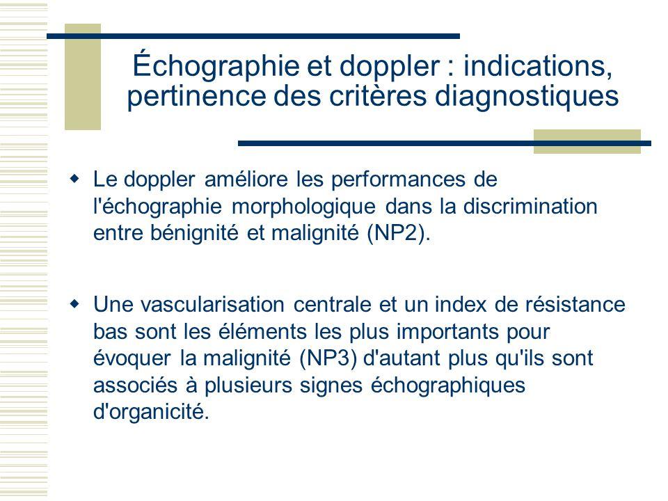 Échographie et doppler : indications, pertinence des critères diagnostiques Le doppler améliore les performances de l échographie morphologique dans la discrimination entre bénignité et malignité (NP2).