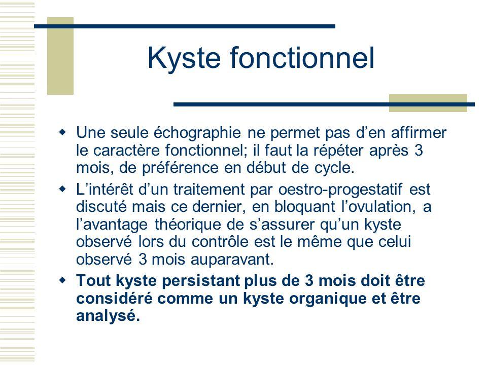 Une seule échographie ne permet pas den affirmer le caractère fonctionnel; il faut la répéter après 3 mois, de préférence en début de cycle. Lintérêt