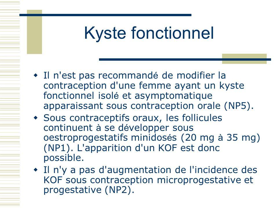 Il n est pas recommand é de modifier la contraception d une femme ayant un kyste fonctionnel isol é et asymptomatique apparaissant sous contraception orale (NP5).