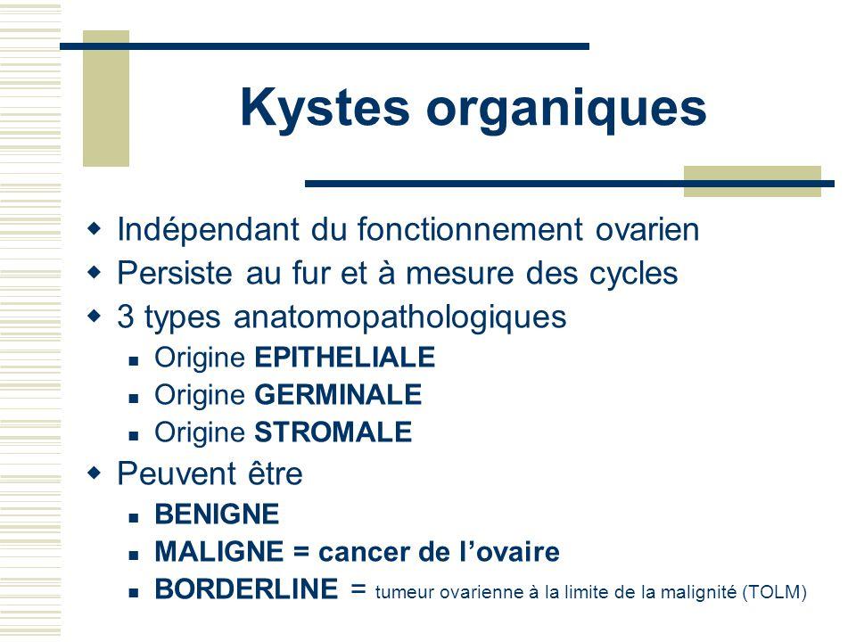 Kystes organiques Indépendant du fonctionnement ovarien Persiste au fur et à mesure des cycles 3 types anatomopathologiques Origine EPITHELIALE Origine GERMINALE Origine STROMALE Peuvent être BENIGNE MALIGNE = cancer de lovaire BORDERLINE = tumeur ovarienne à la limite de la malignité (TOLM)