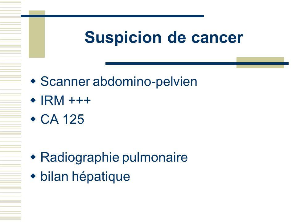 Suspicion de cancer Scanner abdomino-pelvien IRM +++ CA 125 Radiographie pulmonaire bilan hépatique