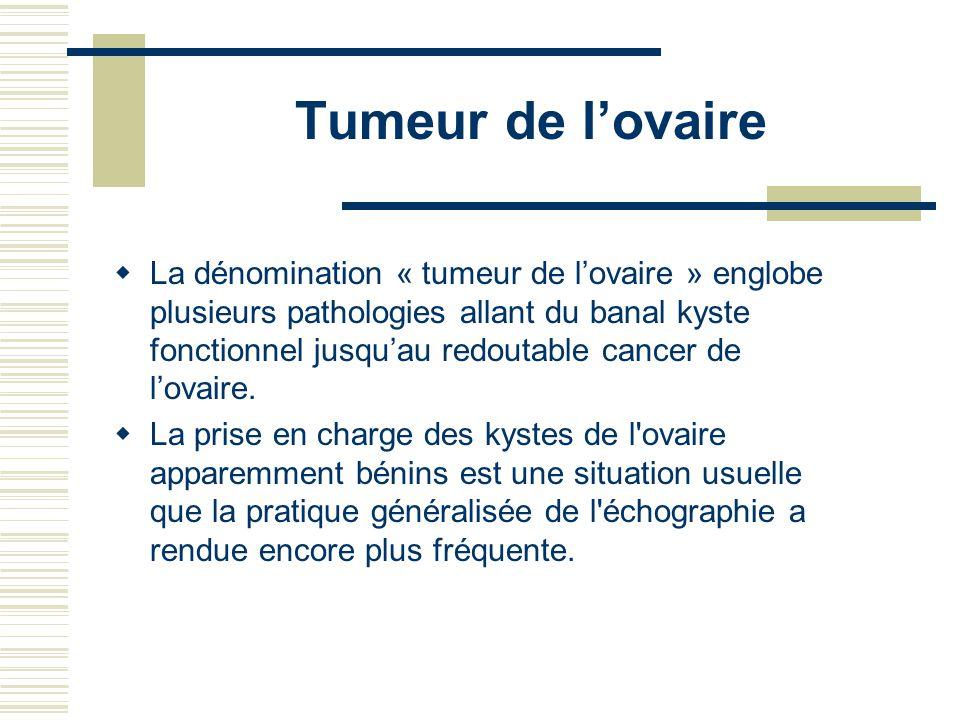 Tumeur de lovaire La dénomination « tumeur de lovaire » englobe plusieurs pathologies allant du banal kyste fonctionnel jusquau redoutable cancer de l