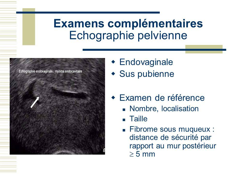 Examens complémentaires Echographie pelvienne Endovaginale Sus pubienne Examen de référence Nombre, localisation Taille Fibrome sous muqueux : distanc