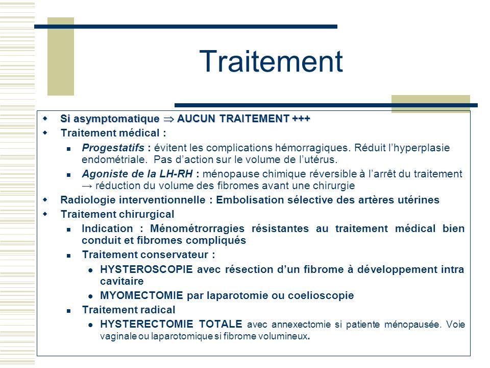 Traitement Si asymptomatique AUCUN TRAITEMENT +++ Si asymptomatique AUCUN TRAITEMENT +++ Traitement médical : Progestatifs : évitent les complications hémorragiques.