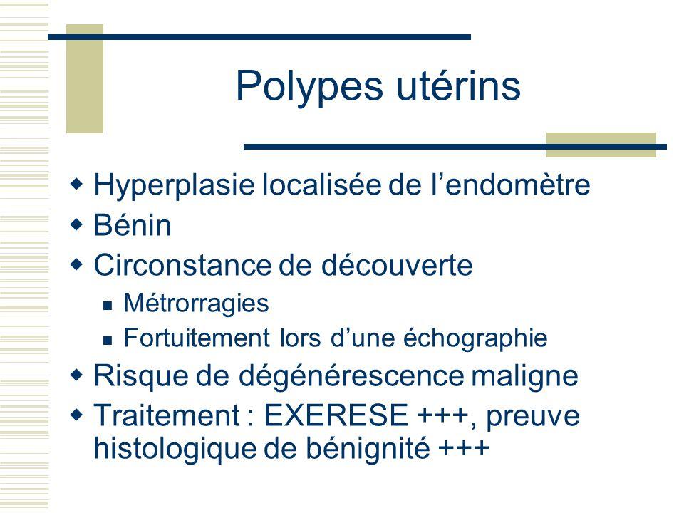 Polypes utérins Hyperplasie localisée de lendomètre Bénin Circonstance de découverte Métrorragies Fortuitement lors dune échographie Risque de dégénérescence maligne Traitement : EXERESE +++, preuve histologique de bénignité +++
