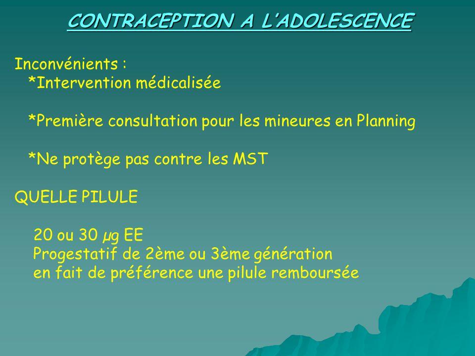 CONTRACEPTION A LADOLESCENCE Inconvénients : *Intervention médicalisée *Première consultation pour les mineures en Planning *Ne protège pas contre les