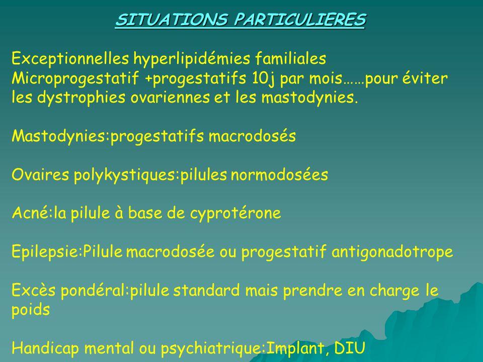 SITUATIONS PARTICULIERES Exceptionnelles hyperlipidémies familiales Microprogestatif +progestatifs 10j par mois……pour éviter les dystrophies ovariennes et les mastodynies.