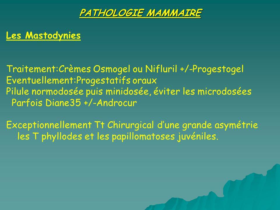 PATHOLOGIE MAMMAIRE Les Mastodynies Traitement:Crèmes Osmogel ou Nifluril +/-Progestogel Eventuellement:Progestatifs oraux Pilule normodosée puis minidosée, éviter les microdosées Parfois Diane35 +/-Androcur Exceptionnellement Tt Chirurgical dune grande asymétrie les T phyllodes et les papillomatoses juvéniles.