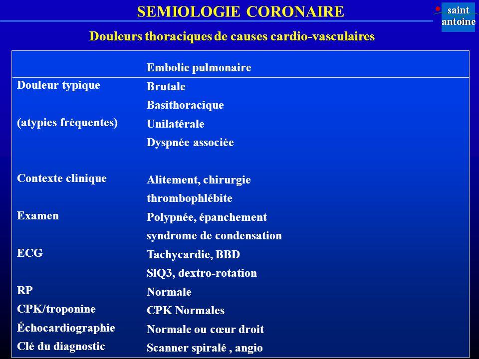 SEMIOLOGIE CORONAIRE Douleur typique (atypies fréquentes) Contexte clinique Examen ECG RP CPK/troponine Échocardiographie Clé du diagnostic Embolie pu