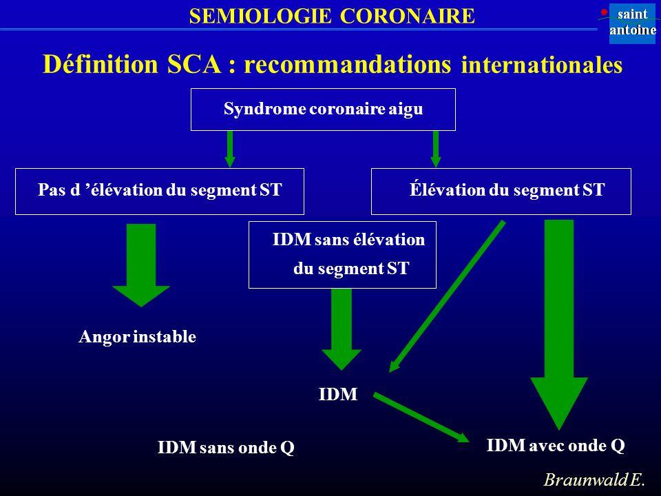 SEMIOLOGIE CORONAIRE Définition SCA : recommandations internationales Syndrome coronaire aigu Pas d élévation du segment STÉlévation du segment ST Ang