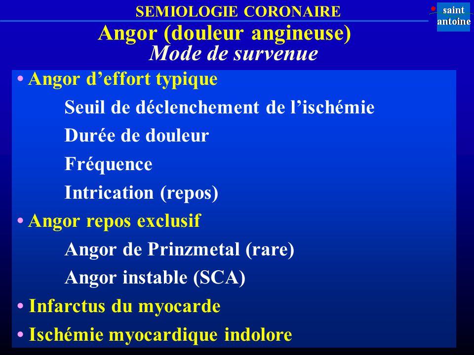 SEMIOLOGIE CORONAIRE Angor (douleur angineuse) Angor deffort typique Seuil de déclenchement de lischémie Durée de douleur Fréquence Intrication (repos