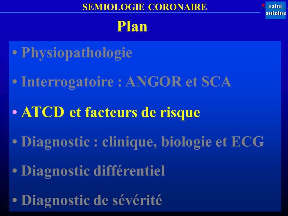 SEMIOLOGIE CORONAIRE Plan Physiopathologie Interrogatoire : ANGOR et SCA ATCD et facteurs de risque Diagnostic : clinique, biologie et ECG Diagnostic