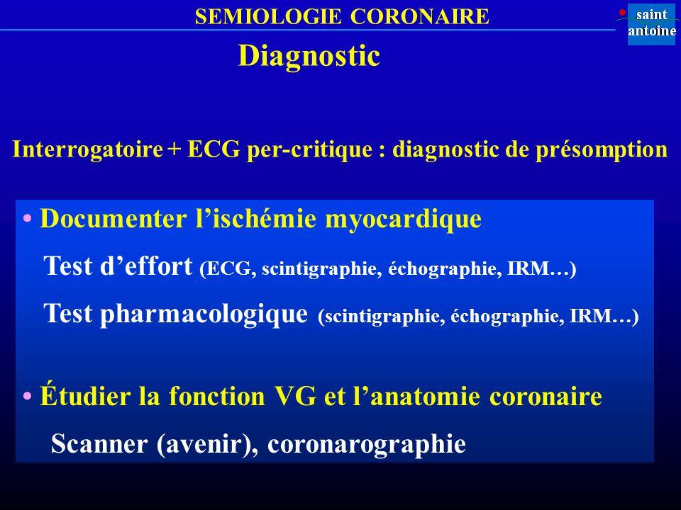 SEMIOLOGIE CORONAIRE Diagnostic Documenter lischémie myocardique Test deffort (ECG, scintigraphie, échographie, IRM…) Test pharmacologique (scintigrap