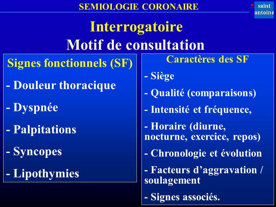 SEMIOLOGIE CORONAIRE Interrogatoire Signes fonctionnels (SF) - Douleur thoracique - Dyspnée - Palpitations - Syncopes - Lipothymies Caractères des SF