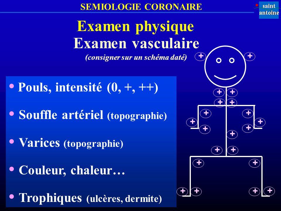 SEMIOLOGIE CORONAIRE Examen physique Examen vasculaire (consigner sur un schéma daté) Pouls, intensité (0, +, ++) Souffle artériel (topographie) Varic