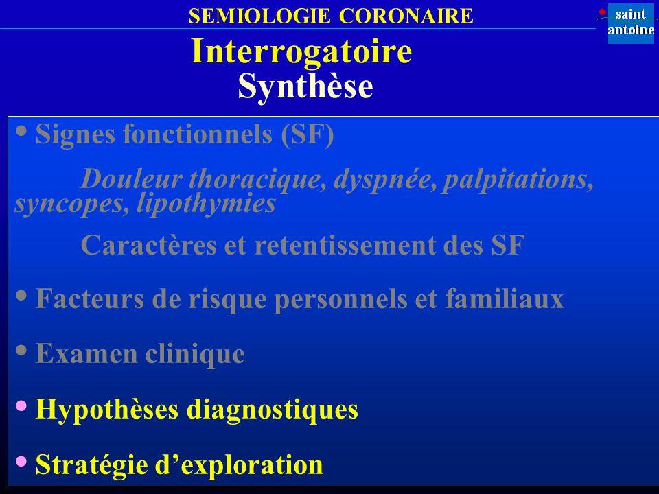 SEMIOLOGIE CORONAIRE Synthèse Signes fonctionnels (SF) Douleur thoracique, dyspnée, palpitations, syncopes, lipothymies Caractères et retentissement d