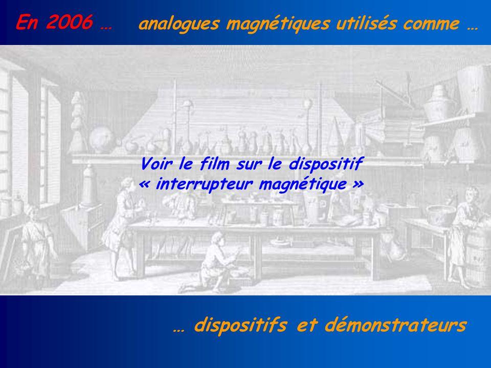En 2006 … analogues magnétiques utilisés comme … … dispositifs et démonstrateurs Voir le film sur le dispositif « interrupteur magnétique »