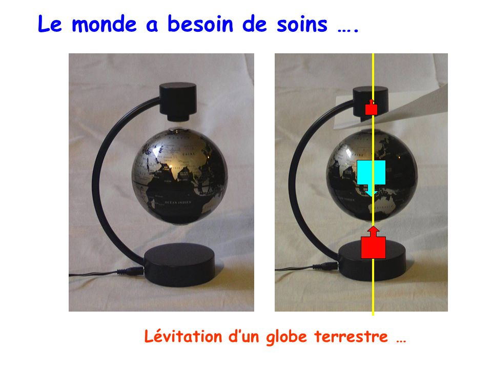 Lévitation dun globe terrestre … Le monde a besoin de soins ….