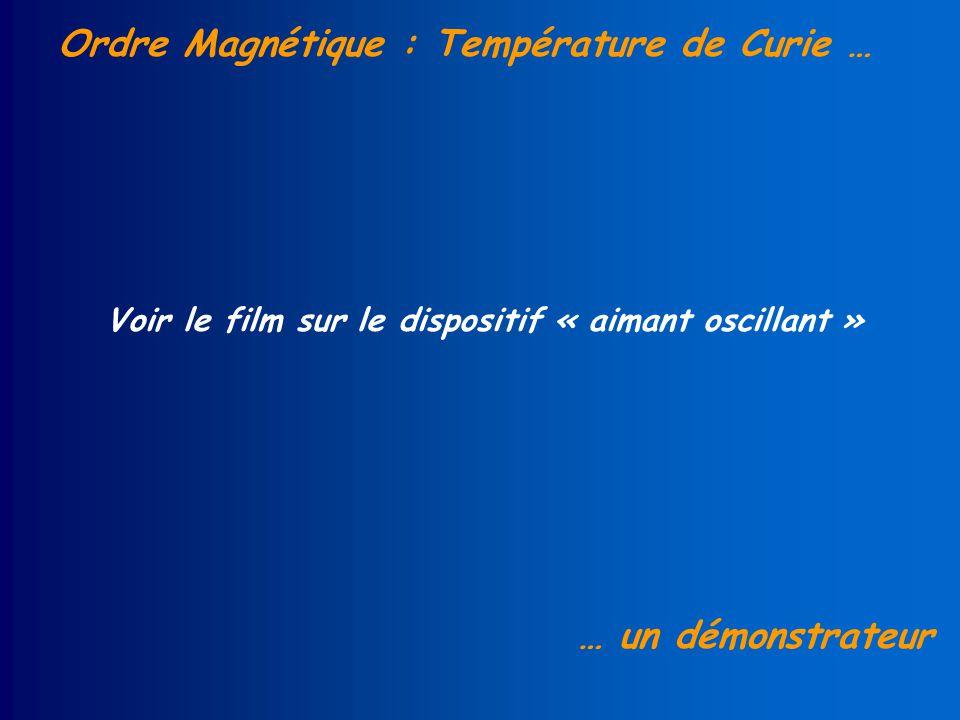 Ordre Magnétique : Température de Curie … … un démonstrateur Voir le film sur le dispositif « aimant oscillant »