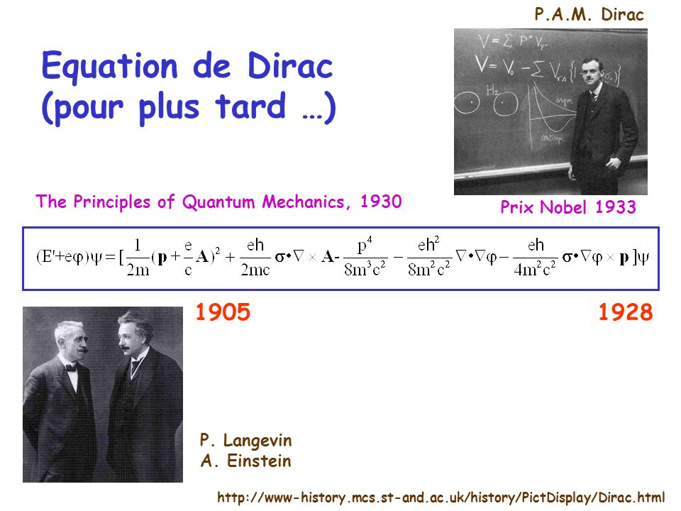 Equation de Dirac (pour plus tard …) http://www-history.mcs.st-and.ac.uk/history/PictDisplay/Dirac.html 19281905 Prix Nobel 1933 The Principles of Qua