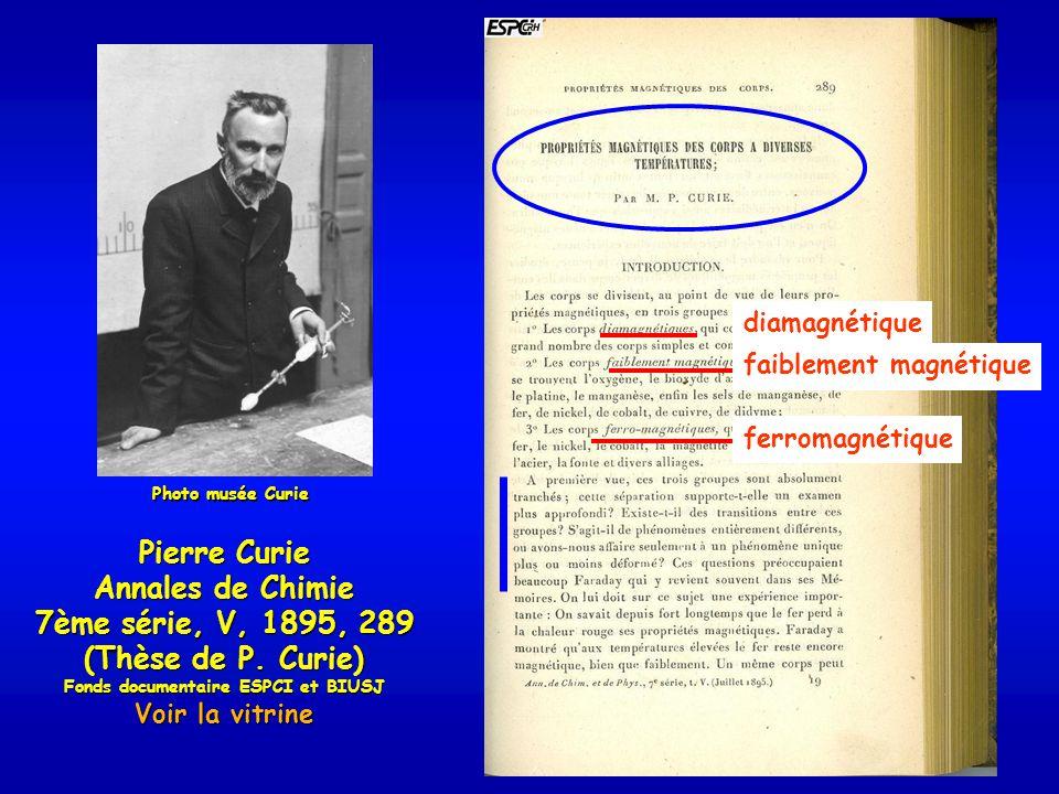 Pierre Curie Annales de Chimie 7ème série, V, 1895, 289 (Thèse de P.