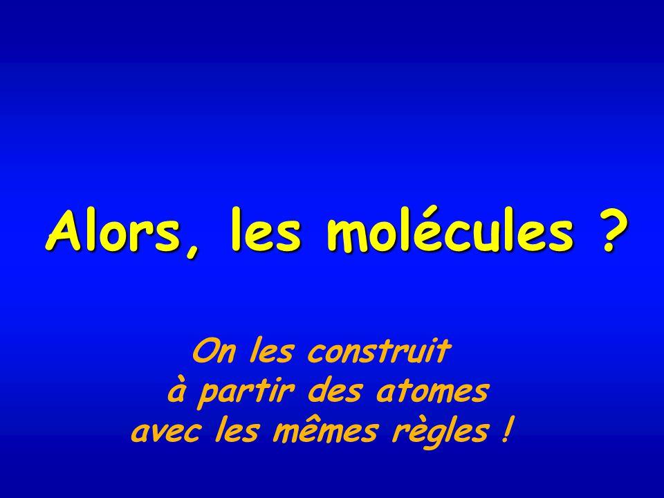 Alors, les molécules On les construit à partir des atomes avec les mêmes règles !