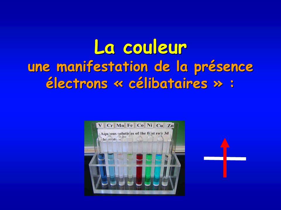 La couleur une manifestation de la présence électrons « célibataires » :