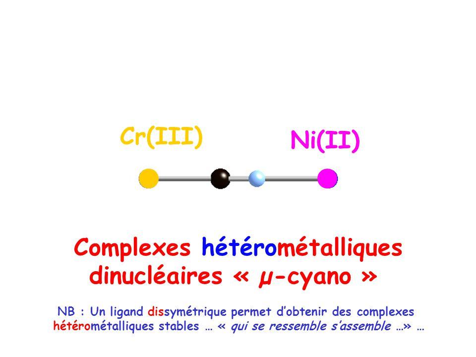 Cr(III) Ni(II) NB : Un ligand dissymétrique permet dobtenir des complexes hétérométalliques stables … « qui se ressemble sassemble …» … Complexes hétérométalliques dinucléaires « µ-cyano »