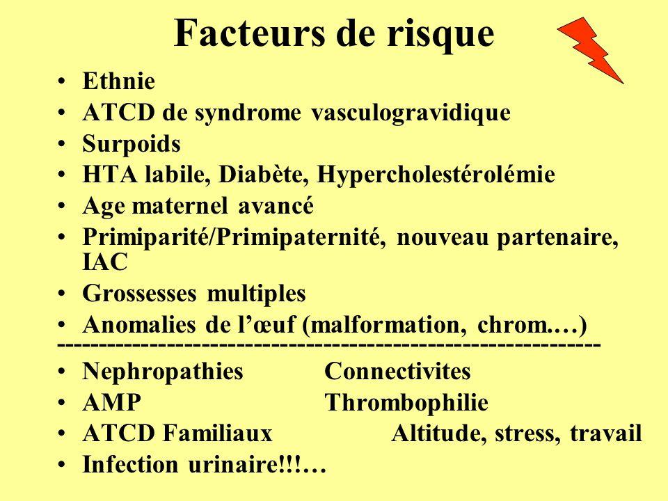 Bilan biologique NFS Plaq, D-Dimères, Fibrinogène, TP, TCA, Schizocytes, Haptoglobine Uricémie, créatininémie, ASAT/ALAT, LDH Protéinurie sur échantillon et des 24 heures Groupe Rhésus, RAI