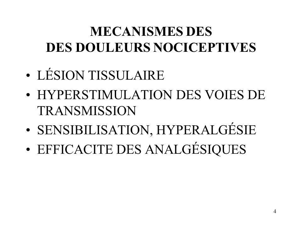 4 MECANISMES DES DES DOULEURS NOCICEPTIVES LÉSION TISSULAIRE HYPERSTIMULATION DES VOIES DE TRANSMISSION SENSIBILISATION, HYPERALGÉSIE EFFICACITE DES ANALGÉSIQUES