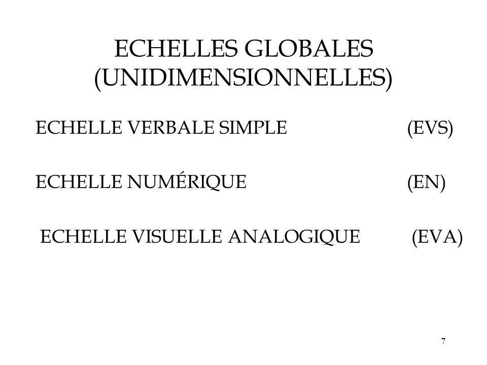 17 Signification des notes de lEN 0 1 2 3 4 5 6 7 8 9 10 EN EVS Autres termes dintensité Comportement Extrêmement intense (9,2) Intense (8,21) Modérée (4,78) Faible (1,98) Absente (0,22) Extrême (8,65) Forte (7,33) Extrêmement faible (1,13) Appel IDE (6,97) Demande antalgique supplémentaire (6,21) Insupportable (9,44) Supportable (4,2) Satisfait du soulagement (3,92) Tolérance