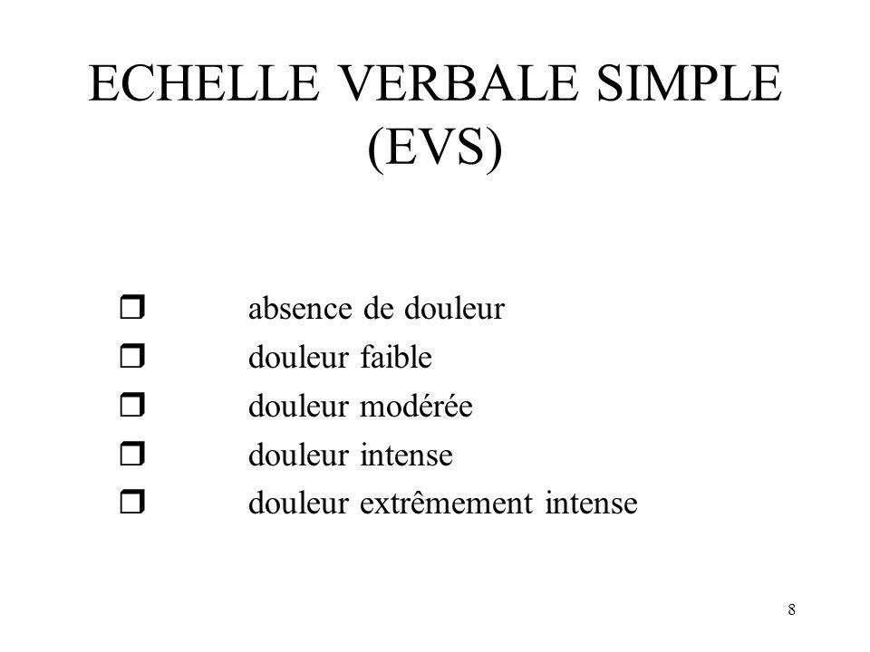 7 ECHELLES GLOBALES (UNIDIMENSIONNELLES) ECHELLE VERBALE SIMPLE (EVS) ECHELLE NUMÉRIQUE (EN) ECHELLE VISUELLE ANALOGIQUE (EVA)