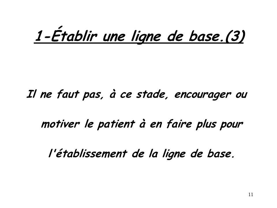 11 1-Établir une ligne de base.(3) Il ne faut pas, à ce stade, encourager ou motiver le patient à en faire plus pour l'établissement de la ligne de ba